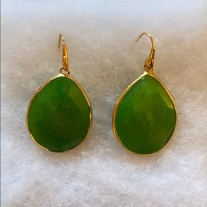 Stella & Dot large emerald drop earrings